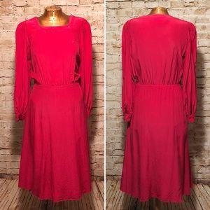 Vintage 1980s Saks Fifth Avenue Pink Silk Dress